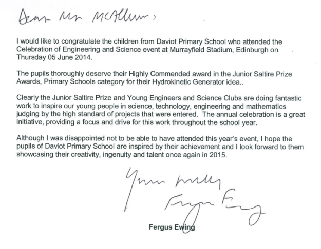 Letter from Fergus Ewing MSP